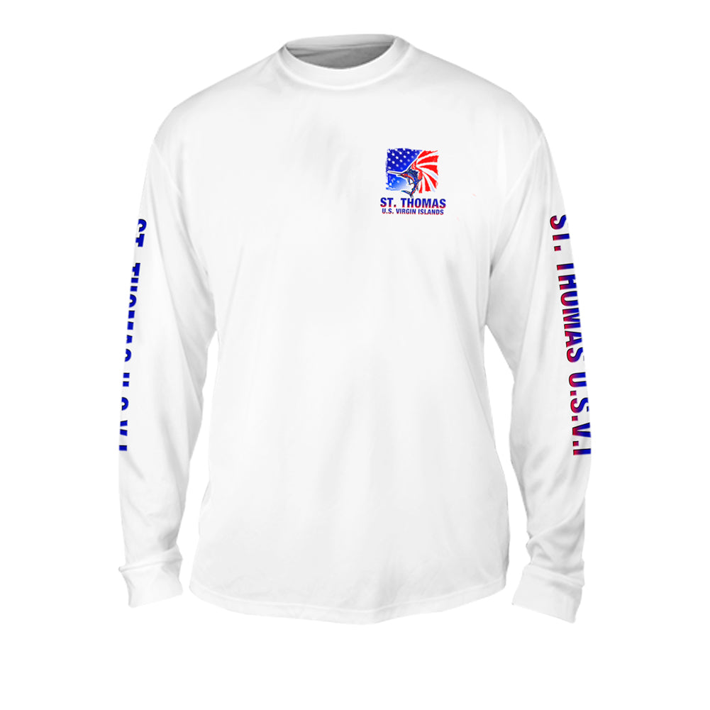 American Marlin White - Mens Performance Long Sleeve Spot Print