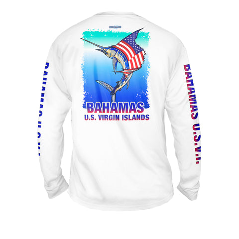 National Marlin - Mens Performance Long Sleeve Spot Print