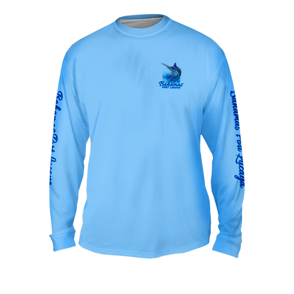 Blue Tiger Marlin - Mens Performance Long Sleeve Spot Print