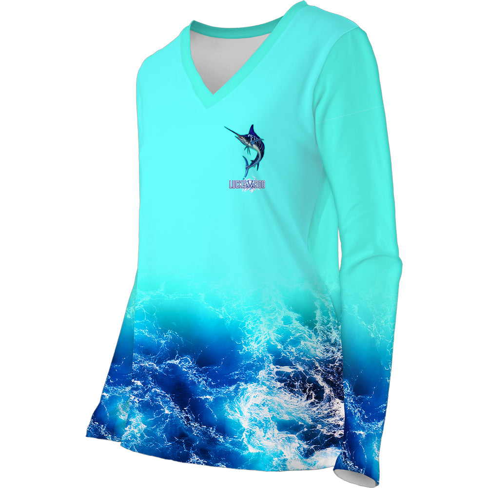 Blue Tiger Marlin Womens LS V-Neck