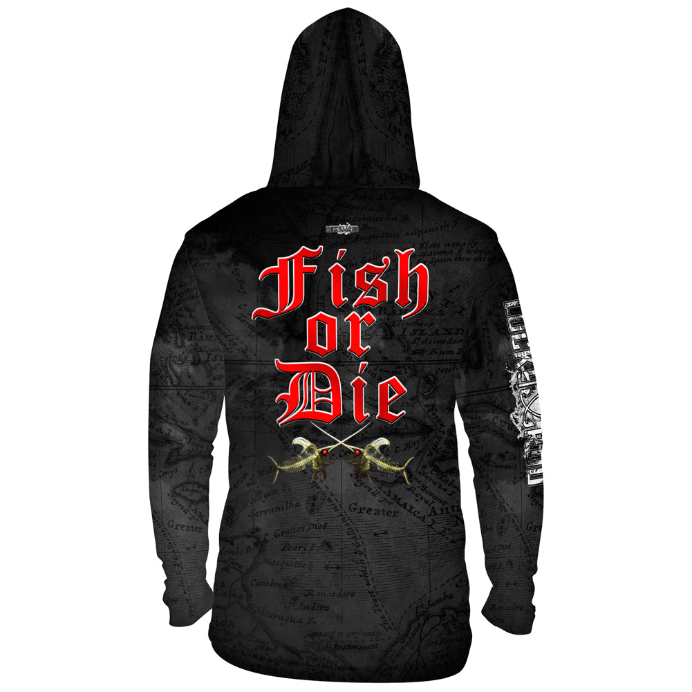 Fish or Die Mens Performance LS With Hood Allover