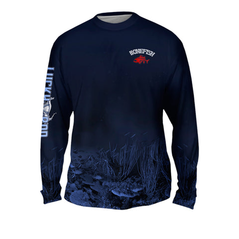 Bonefish Red Mens Performance Long Sleeve Allover