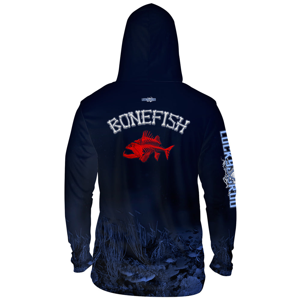 Bonefish Red Mens Performance LS With Hood Allover
