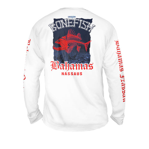 Bonefish Red - Mens Performance Long Sleeve Spot Print