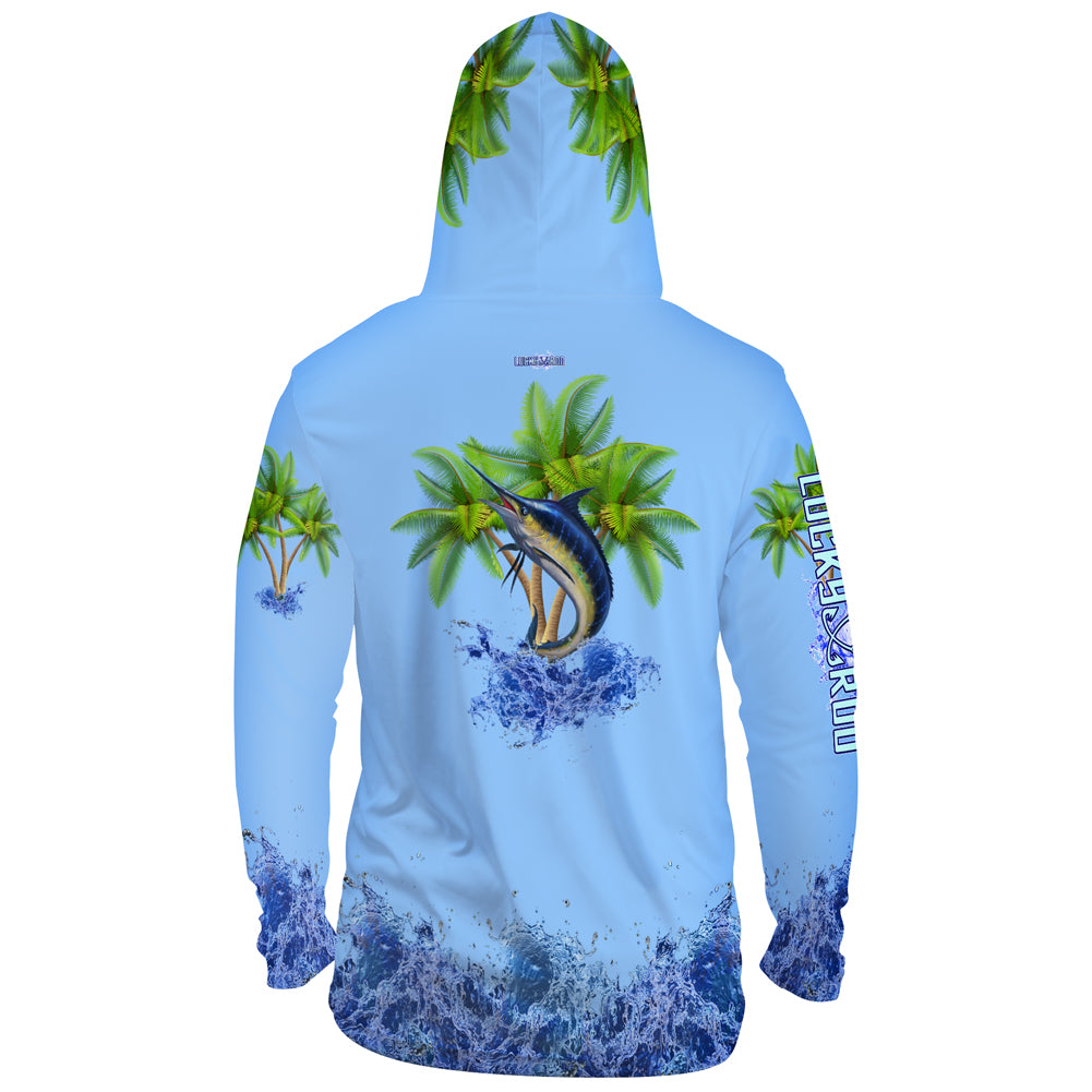 Marlin Palm Trees Mens Performance LS With Hood