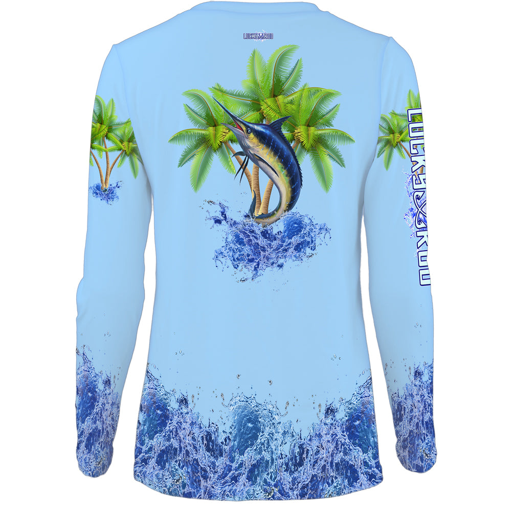 Marlin Palm Trees Womens LS V-Neck
