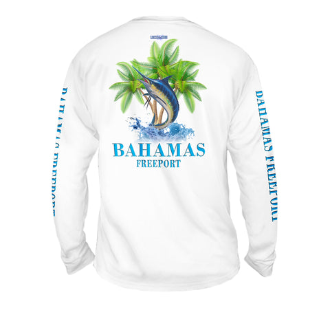 Marlin Palm Trees - Mens Performance Long Sleeve Spot Print