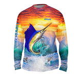 Sailfish Sunset Mens Performance Long Sleeve Allover