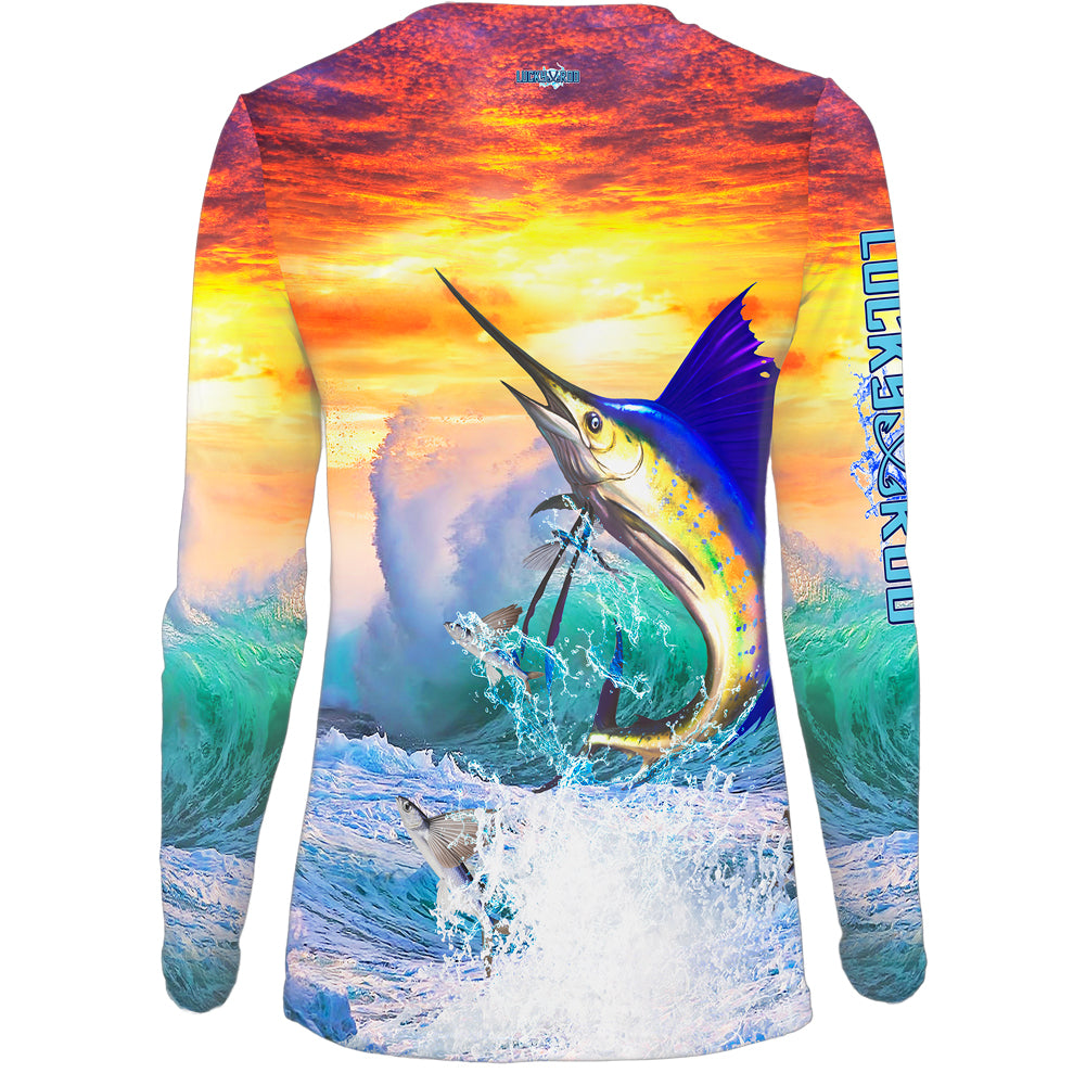 Sailfish Sunset Womens LS V-Neck Allover