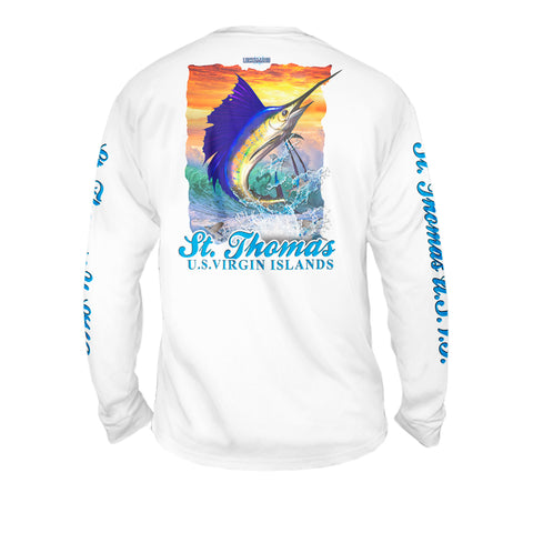 Sailfish Sunset - Mens Performance Long Sleeve Spot Print