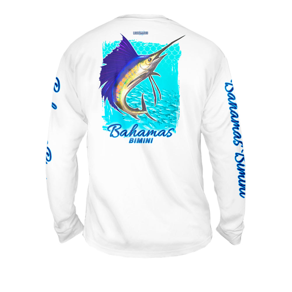 Sailfish Spin Turquise Blue - Mens Performance Long Sleeve Spot Print