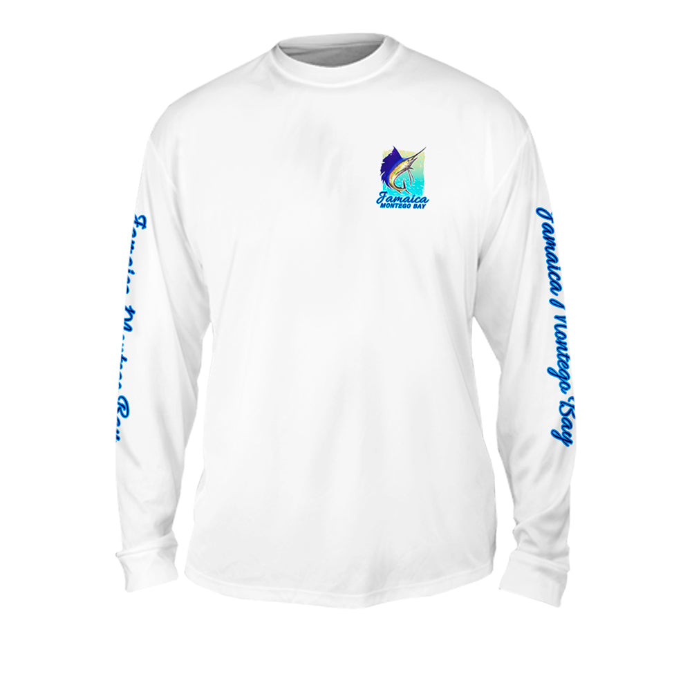 Sailfish Spin Yellow Turquise - Mens Performance Long Sleeve Spot Print