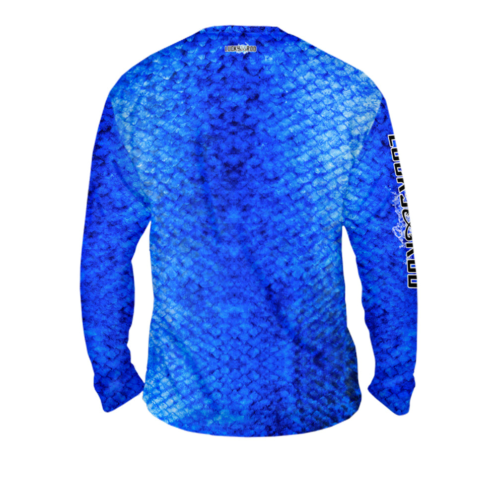 Marlin Skin Blue Mens Performance Long Sleeve Allover
