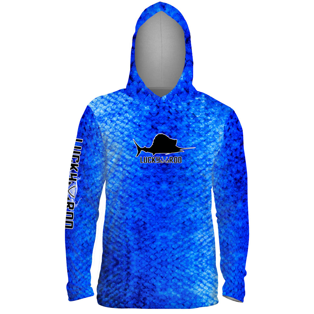Marlin Skin Blue Mens Performance LS With Hood Allover