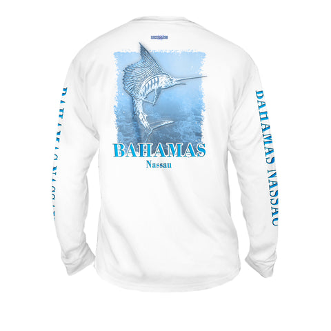 Metalic Marlin Light Blue - Mens Performance Long Sleeve Spot Print