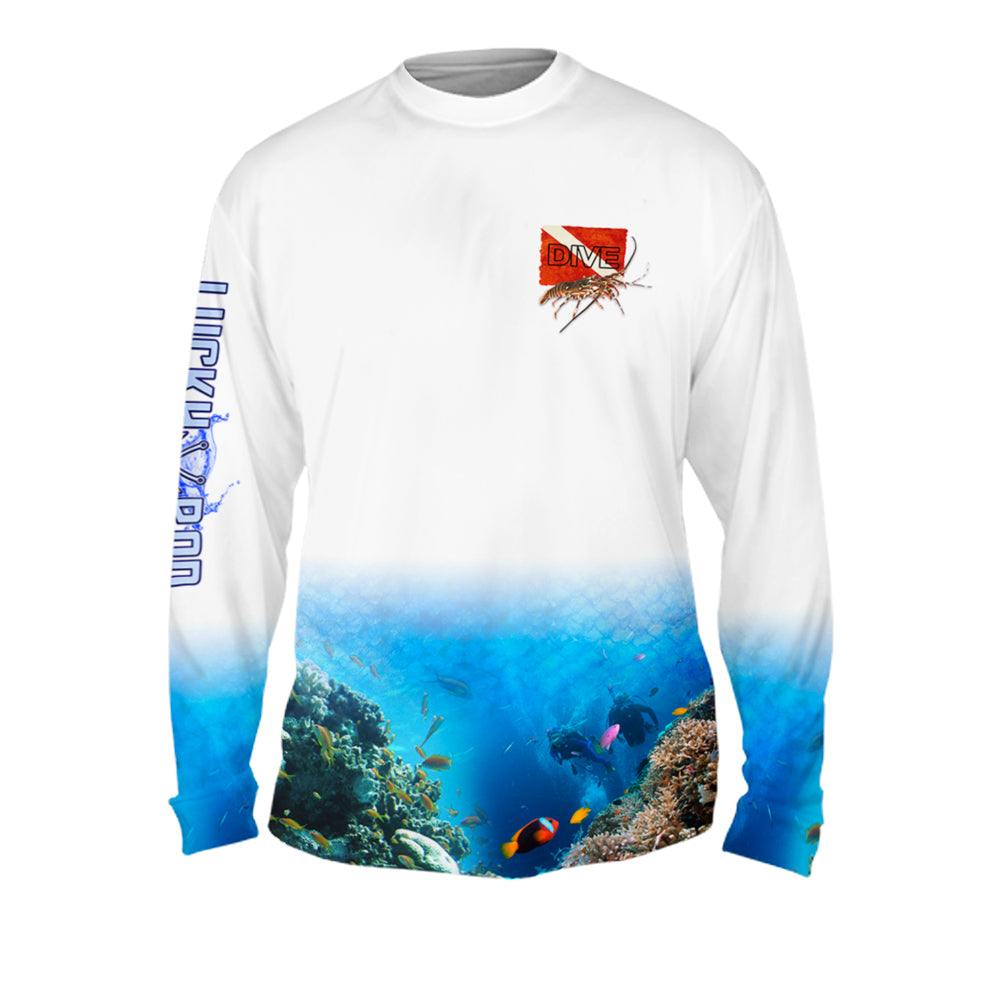 Lobster Dive Mens Performance Long Sleeve Allover