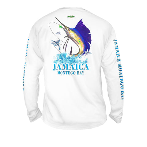 Sailfish Splash White - Mens Performance Long Sleeve Spot Print