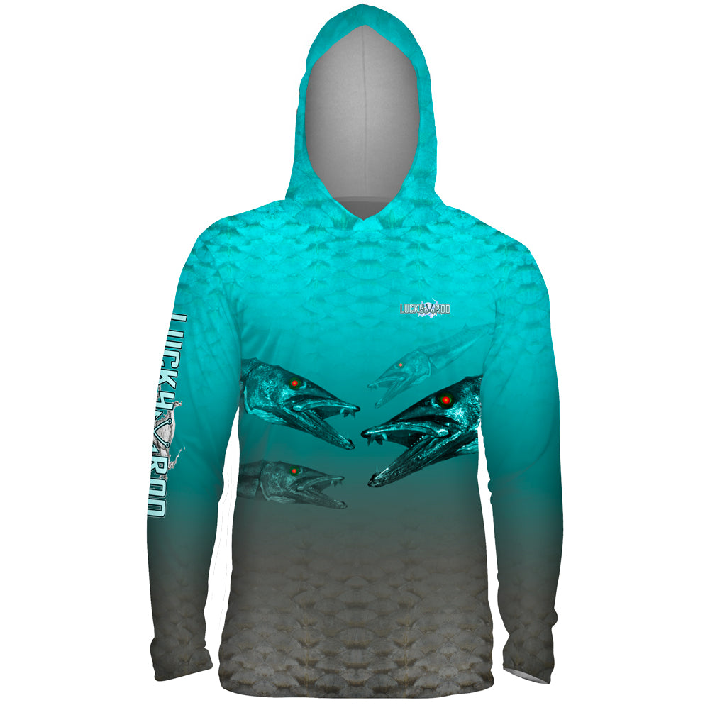 Nasty Barracuda Mens Performance LS With Hood Allover