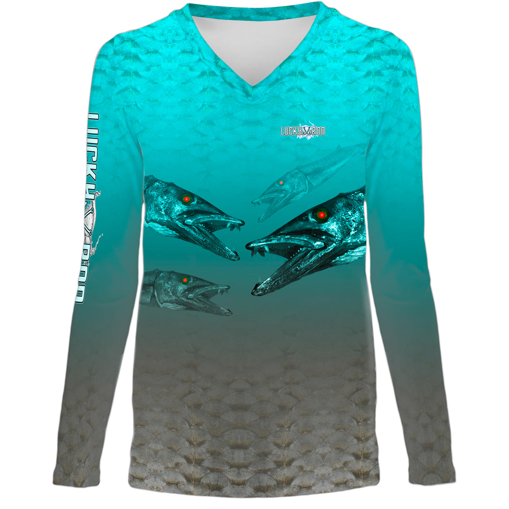 Nasty Barracuda Womens LS V-Neck Allover