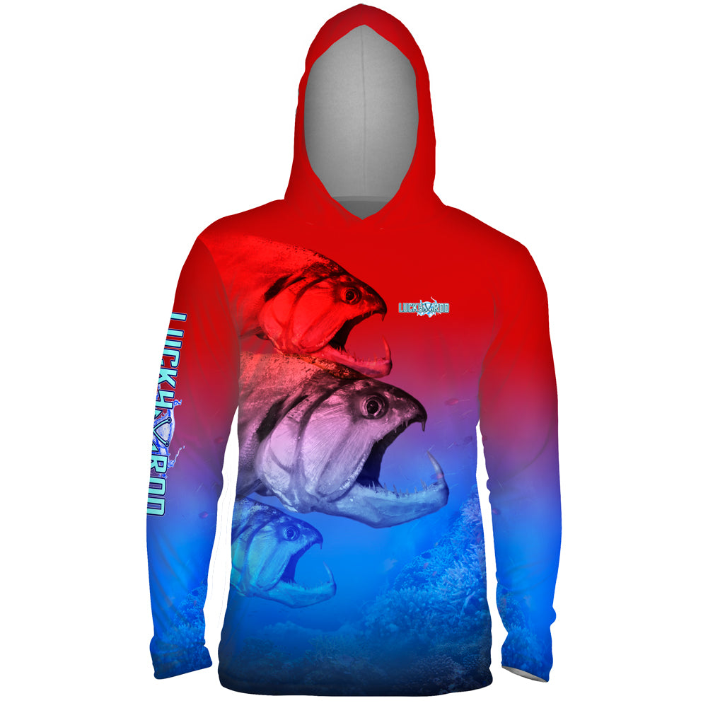Three Head Beast Mens Performance LS With Hood Allover