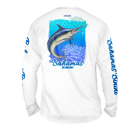Marlin Chomp Turquise - Mens Performance Long Sleeve Spot Print