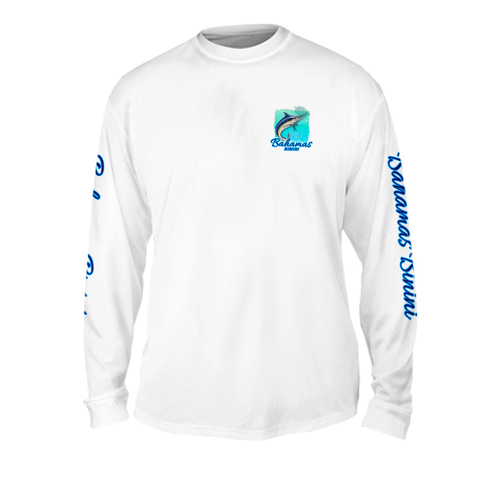 Chomp Yellow Turquise - Mens Performance Long Sleeve Spot Print