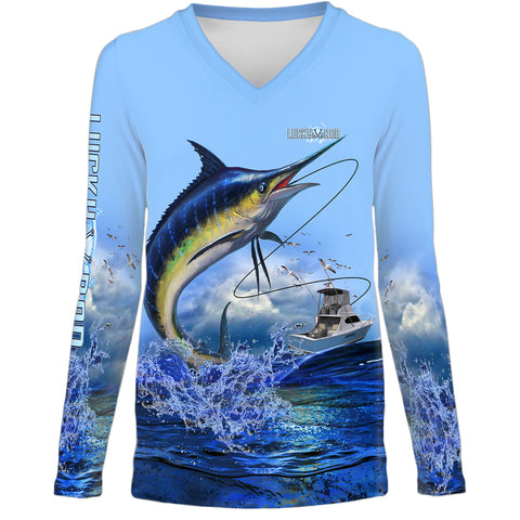 Lucky Day Marlin Womens LS V-Neck