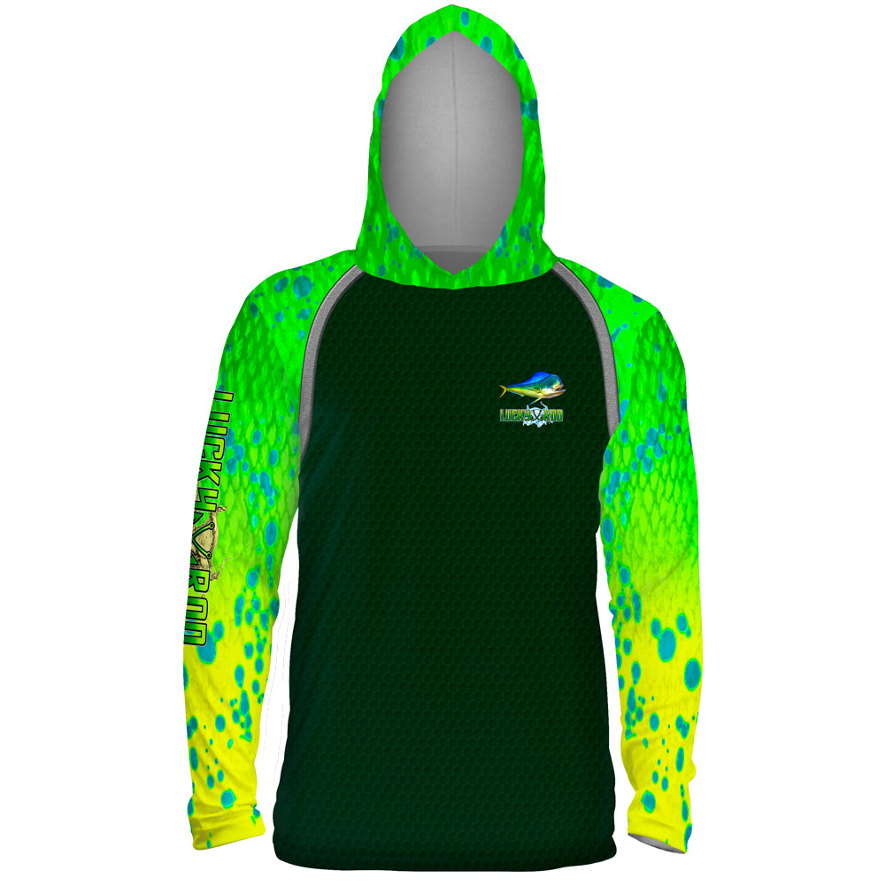 Mahi Fight Shadow Mens Performance LS With Hood Allover