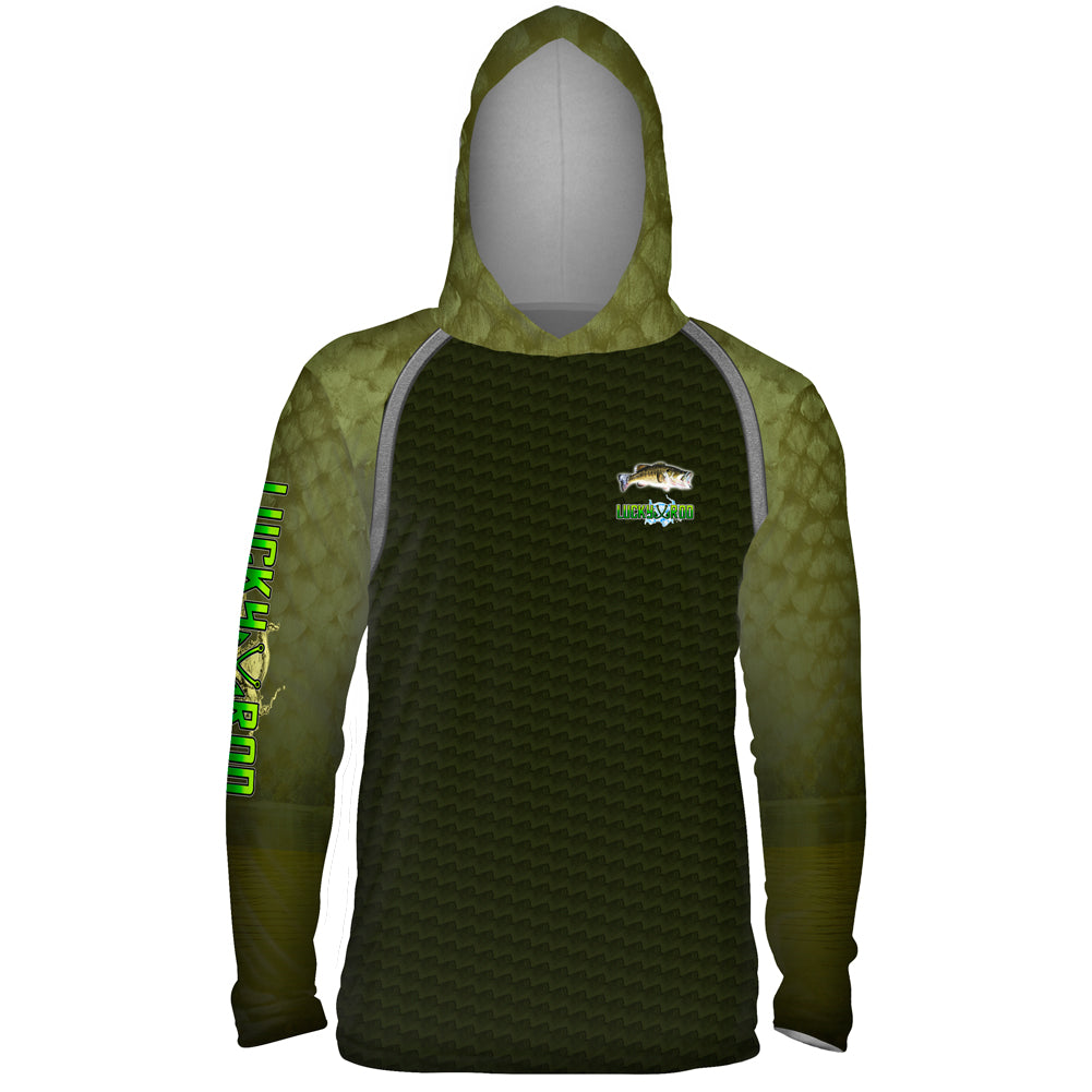 Bass Skin Shadow Mens Performance LS With Hood Allover