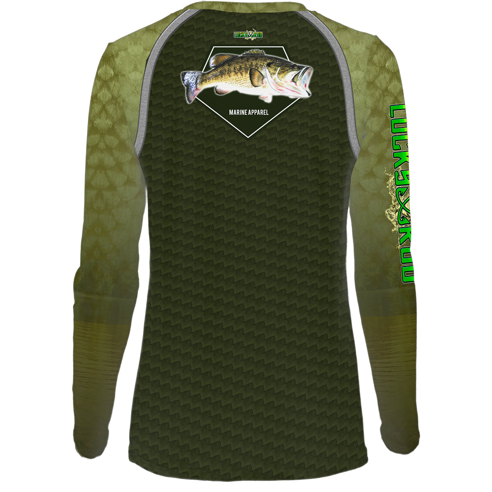 Bass Skin Shadow Womens LS V-Neck Allover