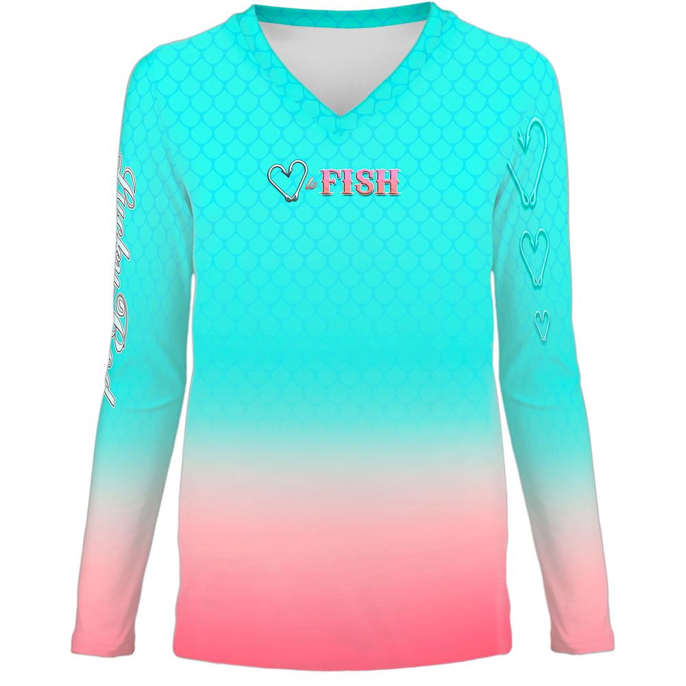 Love To Fish Teal Womens LS V-Neck Allover