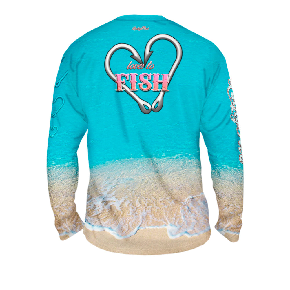 Love To Fish Sand Mens Performance Long Sleeve Allover