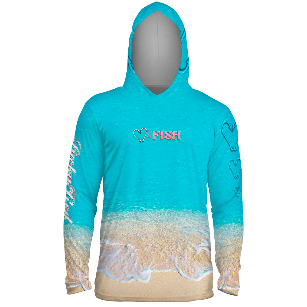 Love To Fish Sand Mens Performance LS With Hood Allover