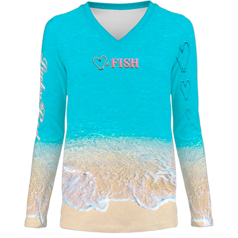Love To Fish Sand Womens LS V-Neck Allover