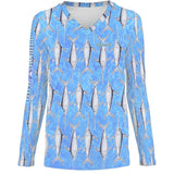 Baby Blue Fish Womens LS V-Neck Allover