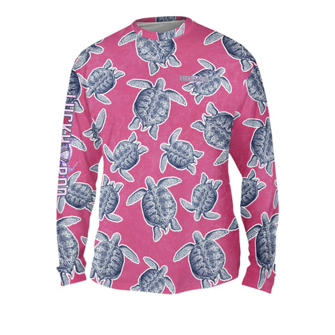 Turtle Shuffle Pink Mens Performance Long Sleeve Allover