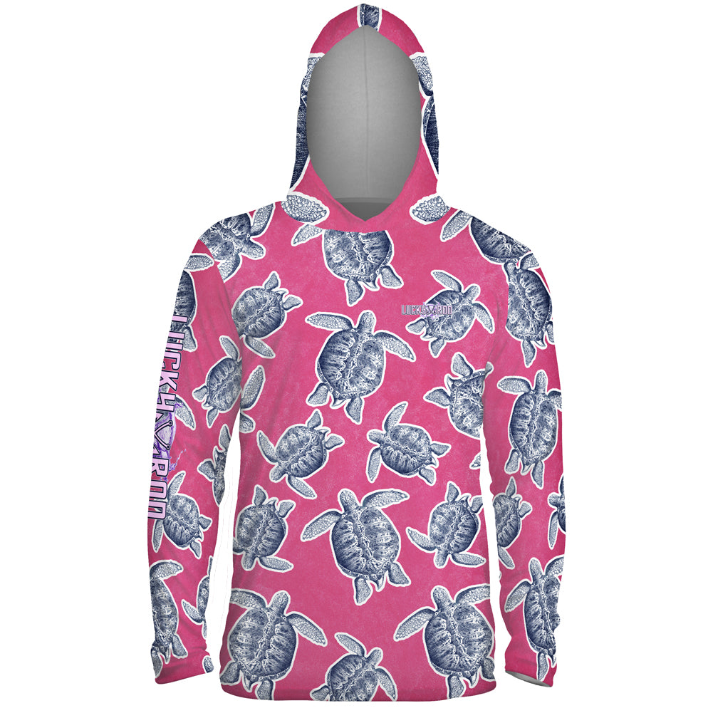 Turtle Shuffle Pink Mens Performance LS With Hood Allover