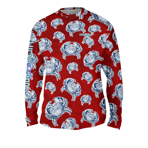 Crab Sunrise Red Mens Performance Long Sleeve Allover