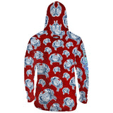 Crab Sunrise Red Mens Performance LS With Hood Allover