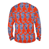 Seahorse Weekend Orange Mens Performance Long Sleeve Allover