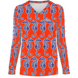 Seahorse Weekend Orange Womens LS V-Neck Allover