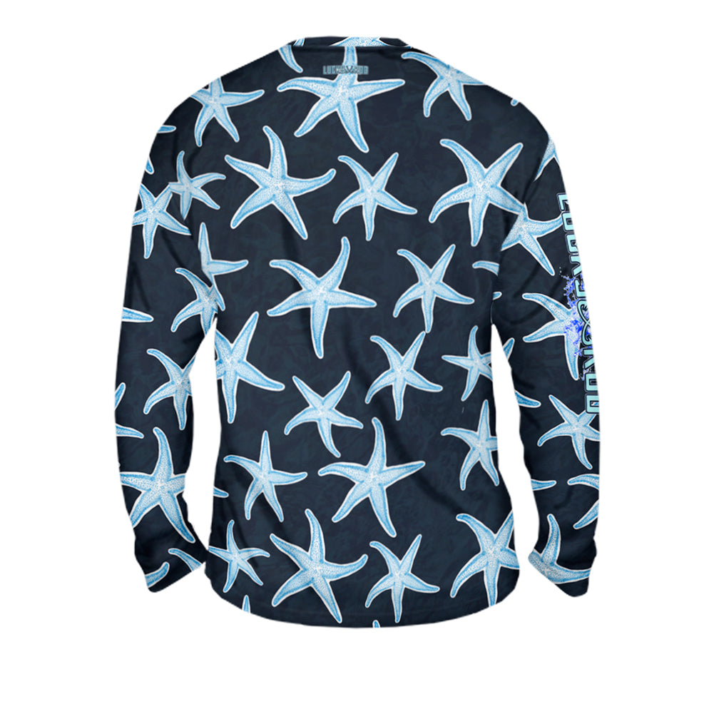 SunStar Navy Mens Performance Long Sleeve Allover