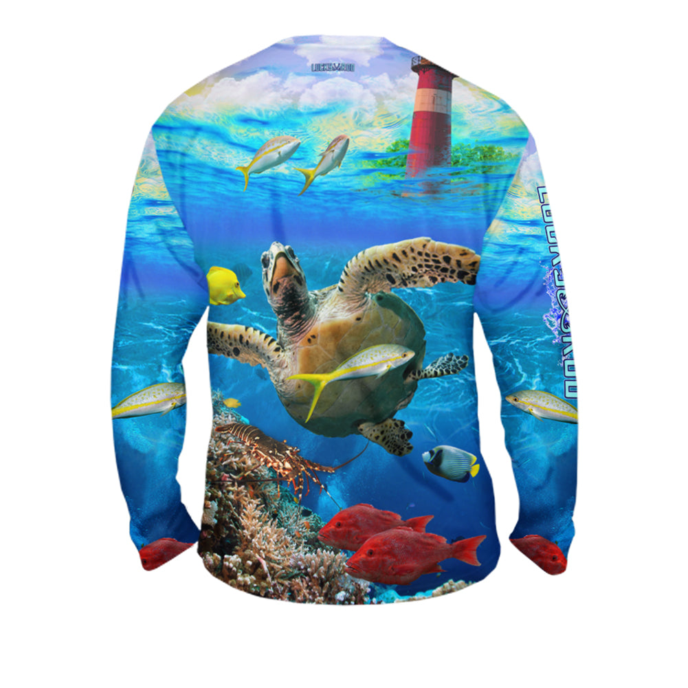 Turtle Lighthouse Mens Performance Long Sleeve Allover