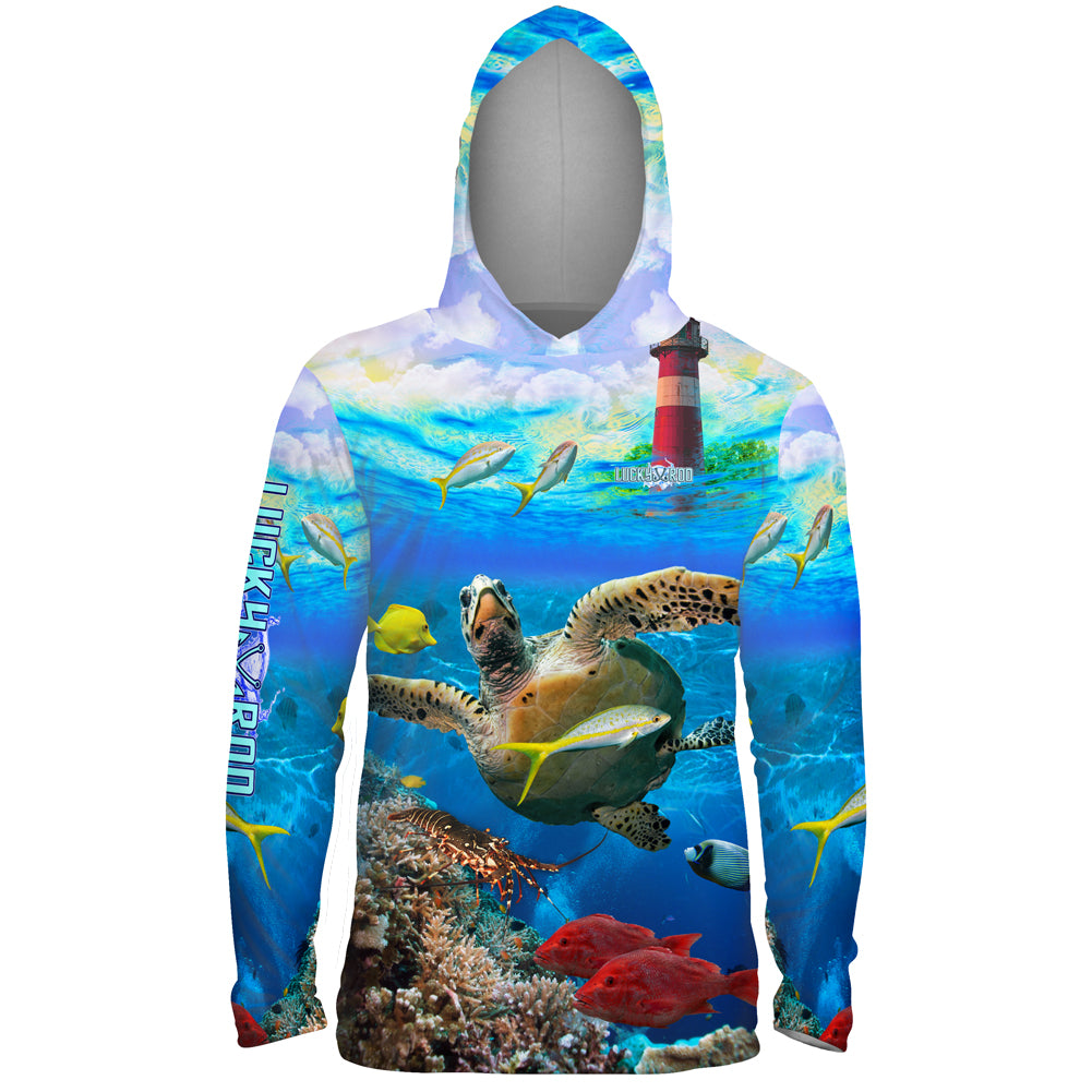 Turtle Lighthouse Mens Performance LS With Hood Allover