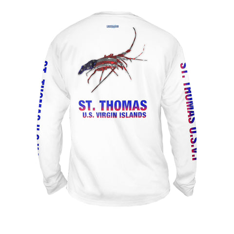 Lobster American Flag - Mens Performance Long Sleeve Spot Print