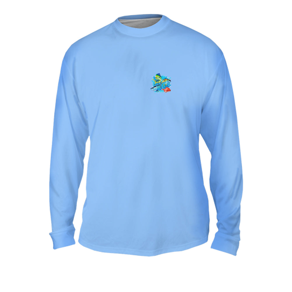 Ocean Splash Multi Fish Mens Performance Long Sleeve Allover