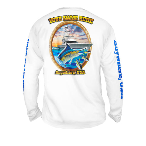 Marlin On The Hunt - Mens Performance Long Sleeve Spot Print