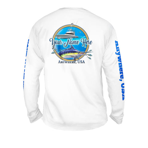 Marlin Excursion - Mens Performance Long Sleeve Spot Print