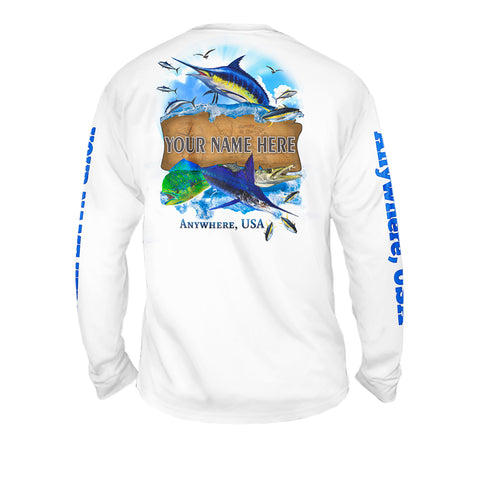 Fresh Catch Frenzy - Mens Performance Long Sleeve Spot Print
