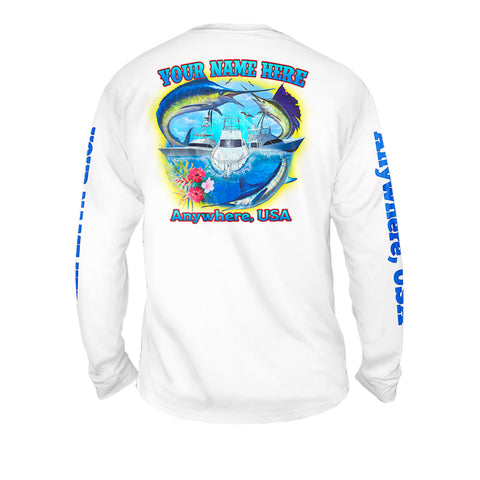 Offshore Friday Seas - Mens Performance Long Sleeve Spot Print